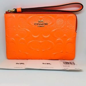 COACH NEON ORANGE Signature C Patent Wristlet NEW
